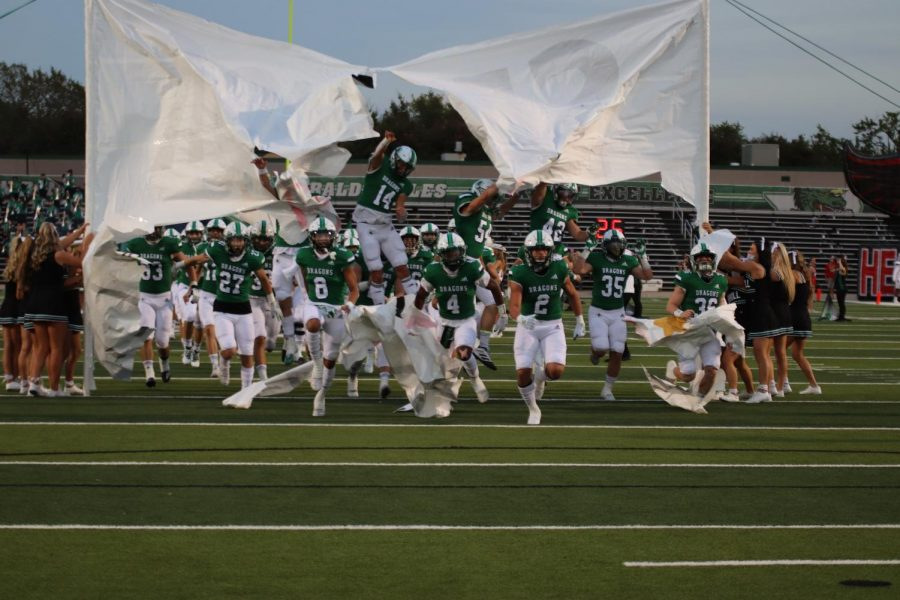 The Dragons take the field against Rockwall Heath on Oct. 2.