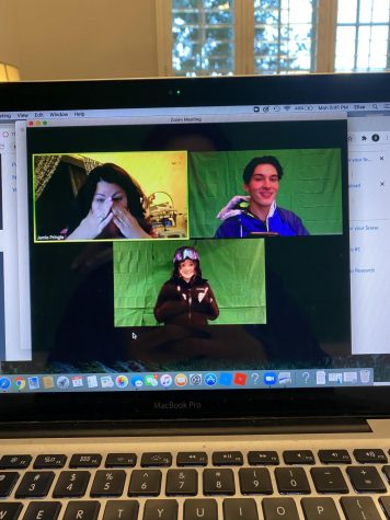 "Two of the actors in ""Almost, Maine"" work with director Jamie Pringle via Zoom on the virtual performance."